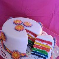 Narozeninový duhový dort