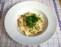 Rizoto s gorgonzolou, hráškem a fazolemi