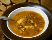 Polévka z hnědé čočky s mrkví