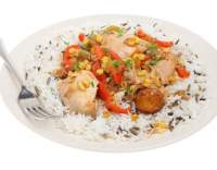 Kuřecí stehna na zelenině s rýží